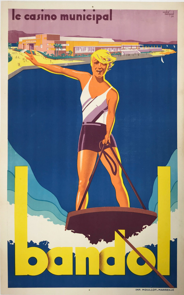 Bandol Le Casino Municipal travel poster by Andre Bermond 1930 France, original advertising lithography destination ad.
