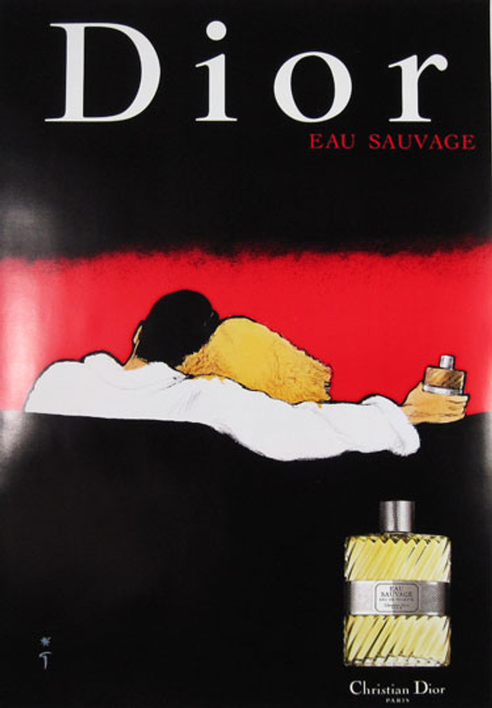 Dior Eau Sauvage by Rene Gruau original vintage poster from 1979 France. This original antique poster features a couple who sit on a sofa while the guy holds a bottle of Dior perfume.