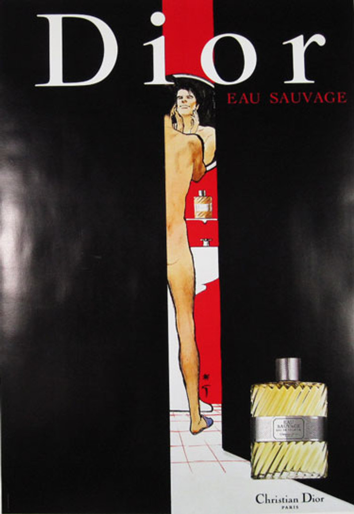 Dior Eau Sauvage by Rene Gruau original  advertisement lithography vintage poster from 1979 France. Shows a naked man standing before a mirror and sink in  the bathroom with bottle of perfume on the black background.