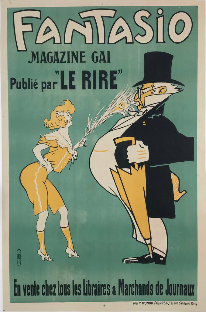 Fantasio Le Rire Magazine Original Vintage Poster By Auguste Roubille