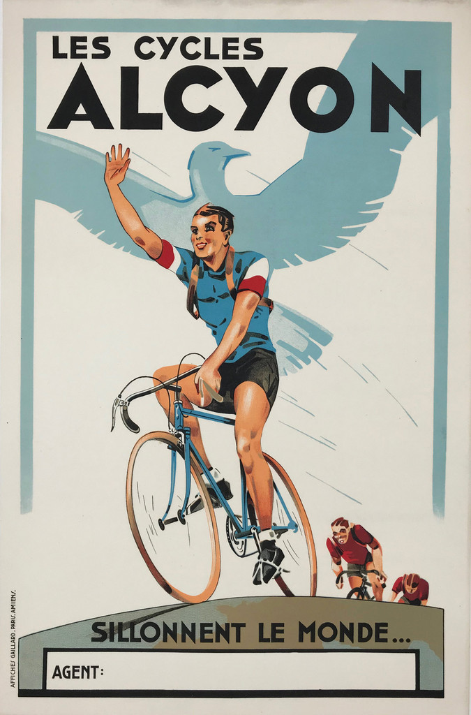 Alcyon Cycles by artist Gaillard from 1929 original vintage bicycles advertising lithography. Antique posters.