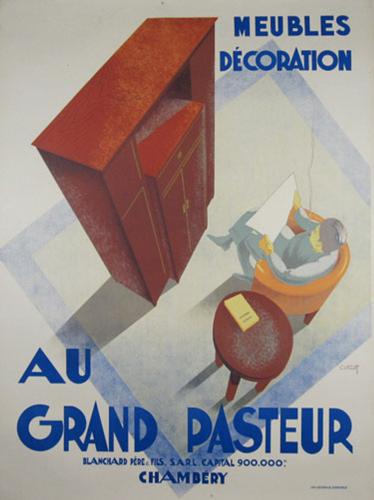 Au Grand Pasteur original advertising lithography vintage poster by Villot from 1927 France. Shows a man siting on a armchair and reading a newspaper. Around him are furniture.