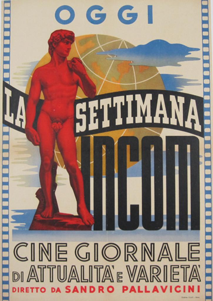 OGGI La Settimana Incom Original Movie Poster from 1949 Italy