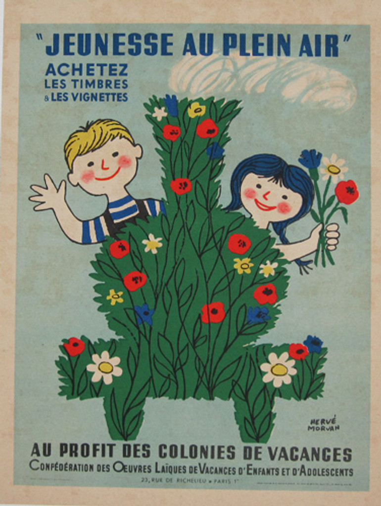 Jeunesse Au Plein Air Achetez 1951 advertising lithographic poster by herve morvan promoting vacation for kids