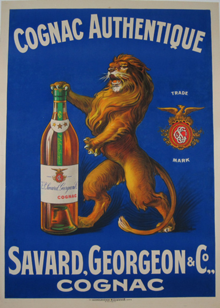 Cognac Authentique Savard Georgian 1912 France - Original vintage French poster features a lion standing with a paw on a bottle against a blue background. Original Antique Posters.