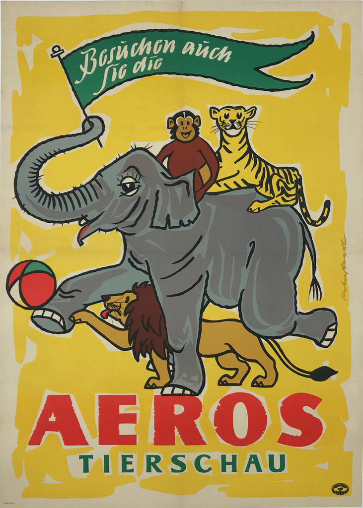1964 German Aeros Tierschau Offset Plate Lithograph Advertisement Poster Signed In The Plate By Artist Linen Backed