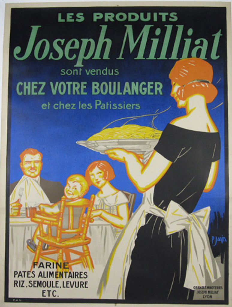 Joseph Milliat from 1920 by Javin - French poster features family with small child who sit at the table and waiting for dinner which carries the housekeeper.