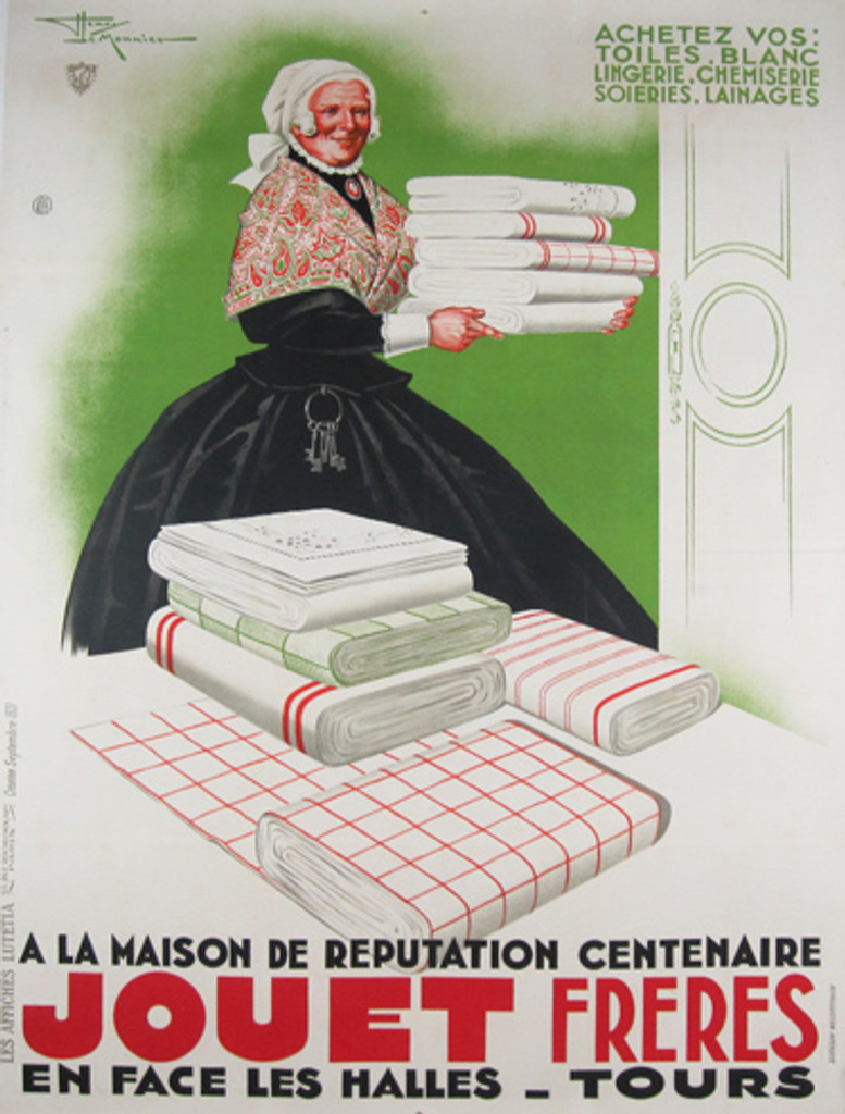 Jouet Freres by Henry Le Monnier original vintage poster from 1933 France. This original antique poster features a woman wearing black dress, holding folded tablecloths.