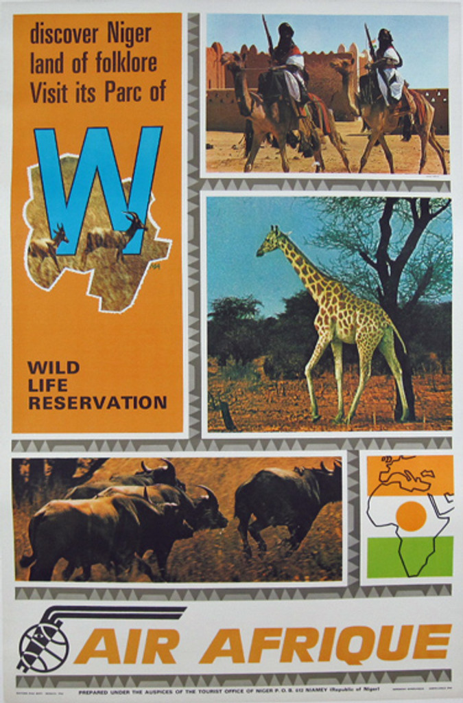 Air Afrique Wild Life Reservation original travel poster from 1970.