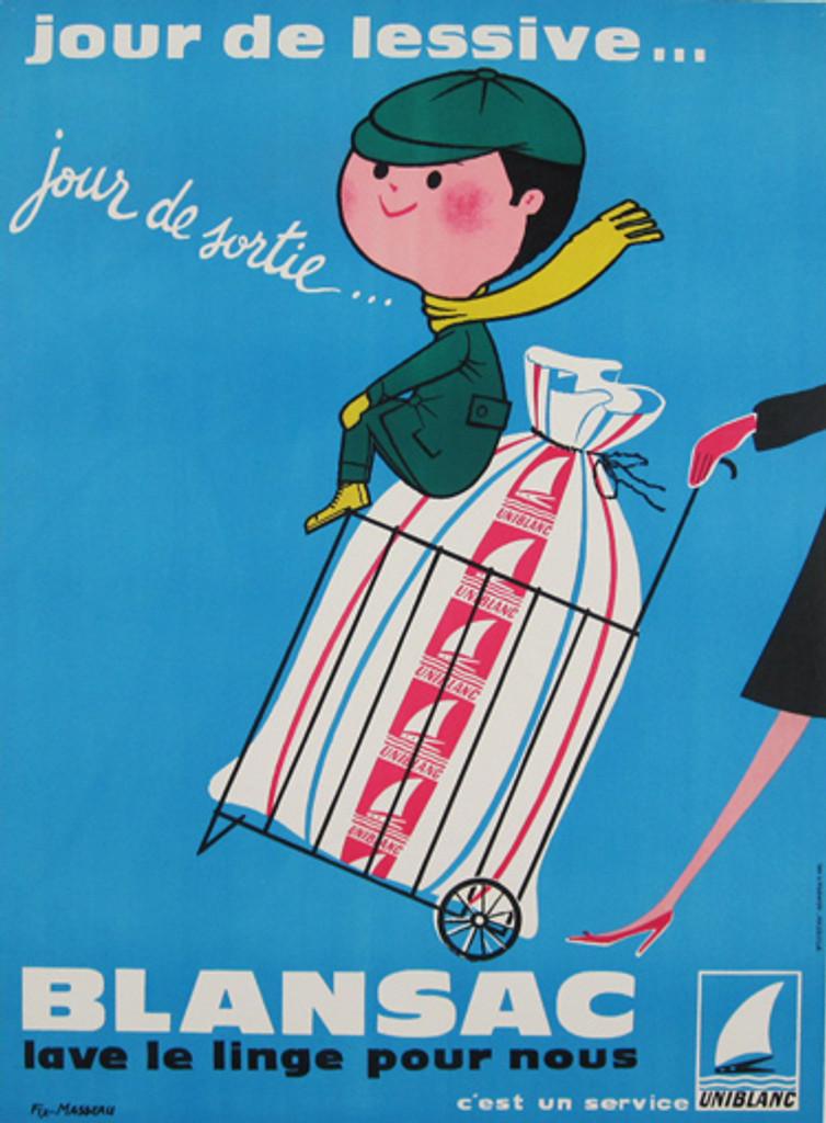 Blansac Uniblanc by Fix-Masseau original vintage poster from 1958 France