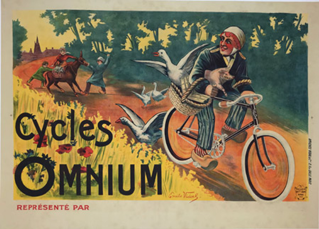 French 1898 Cycles Omnium Poster by Emile Vidal