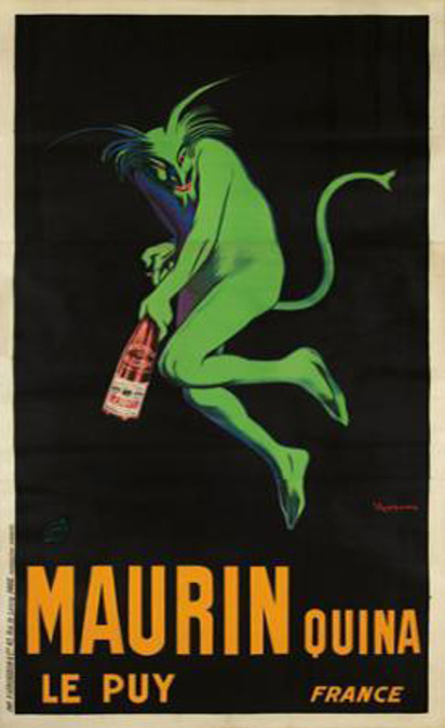 Maurin Quina Le Puy 3 sheet Leonetto Cappiello original vintage French poster from 1906. Features a green devil (demon) opening a bottle of aperitif against a black background.