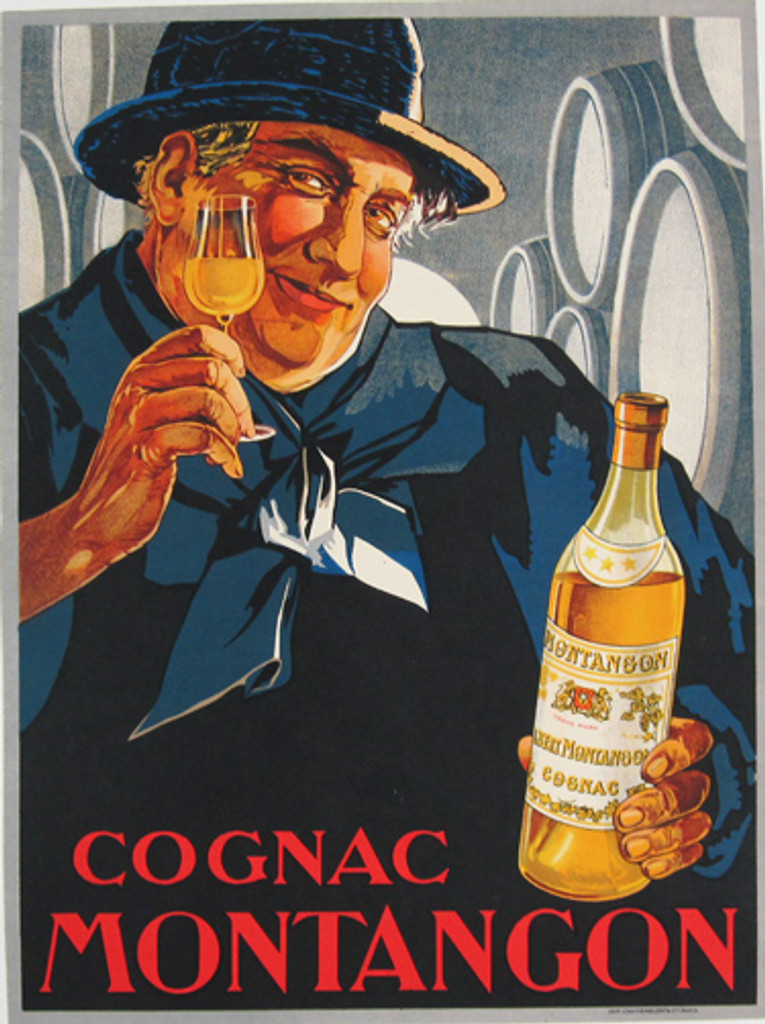 Cognac Montangon original French 1927 vintage advertising poster