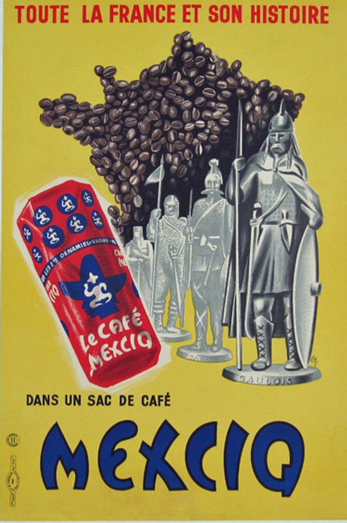 La Cafe Mexicq original vintage advertising lithographic poster from 1956 France
