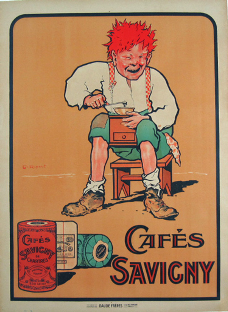 This French poster features a men who sitting on a stool and between his legs holding a coffee grinder. Cafes Savigny- Original Vintage Food Poster Advertising Caffe by Georges Ripart from 1918.