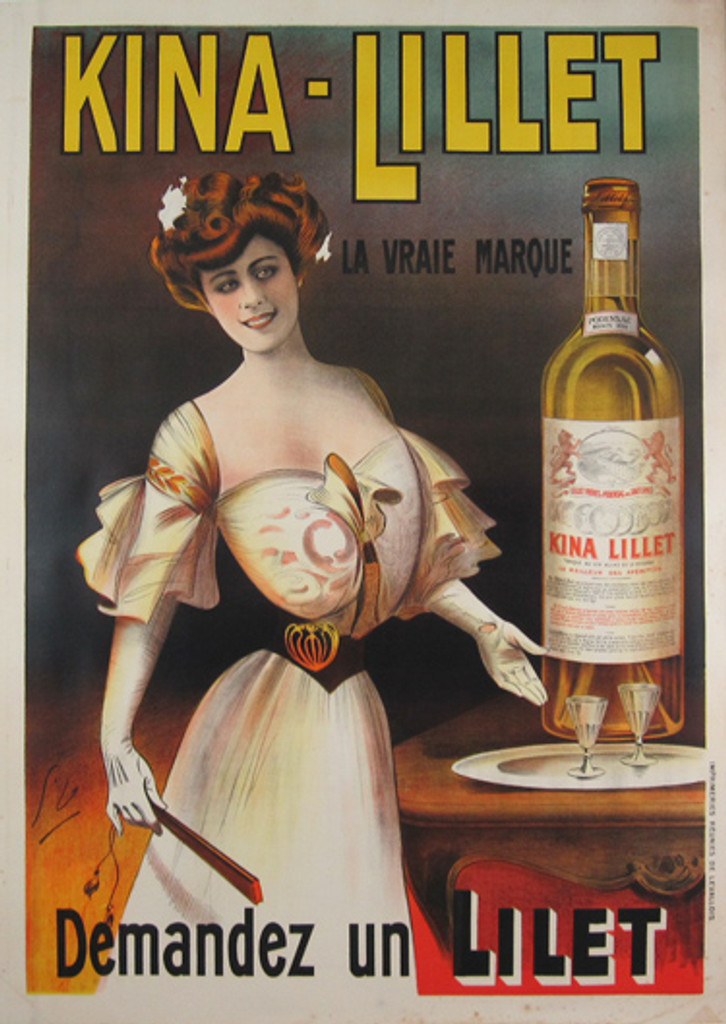 Kina Lillet original vintage poster by Dola from 1904 France. Turn of the century French wine advertisement.