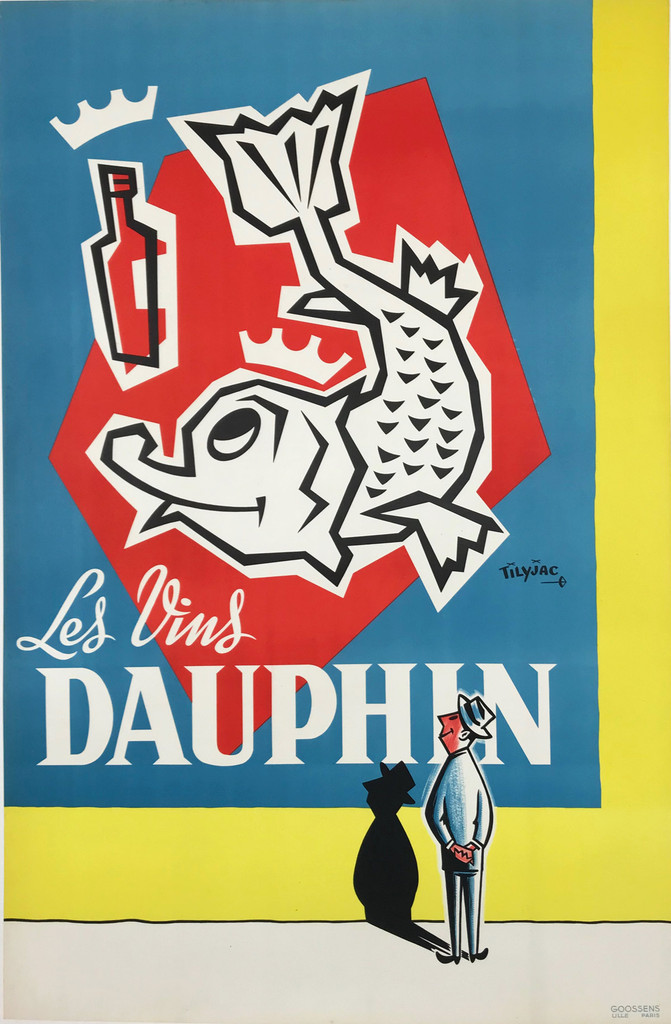 Les Vins Dauphin 1946 - French original wine poster features a fish with a crown looking up at a bottle as a man's silhouette falls on the wall. Original Vintage Posters.
