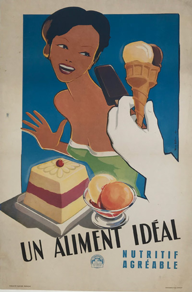 French 1949 Glaces Un Aliment Ideale Poster