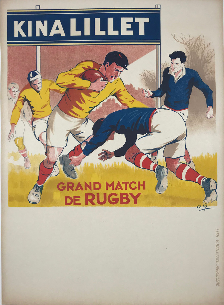 Kina Lillet Grand Match De Rugby French Original Vintage Posters Sports.