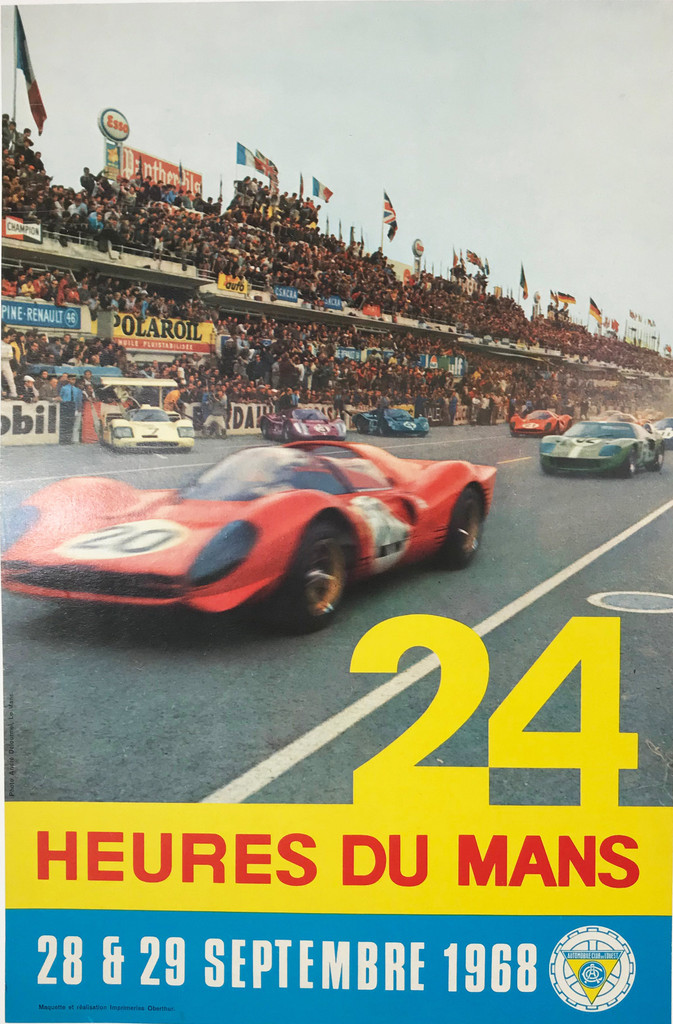 24 Heures du Mans original advertising lithography vintage transportation poster from 1968 France.