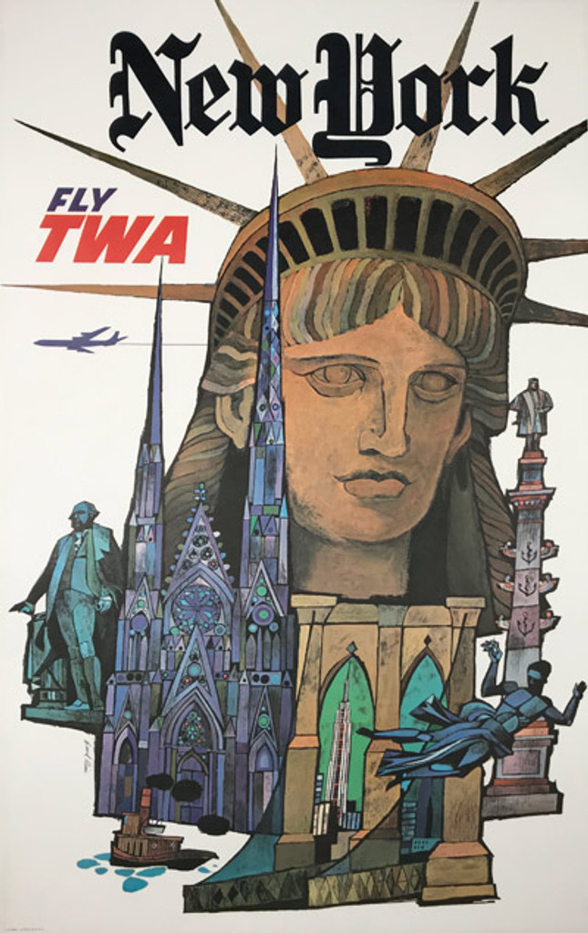 New York Fly TWA Original Travel Poster from 1968 by David Klein. Original Vintage Travel Posters.