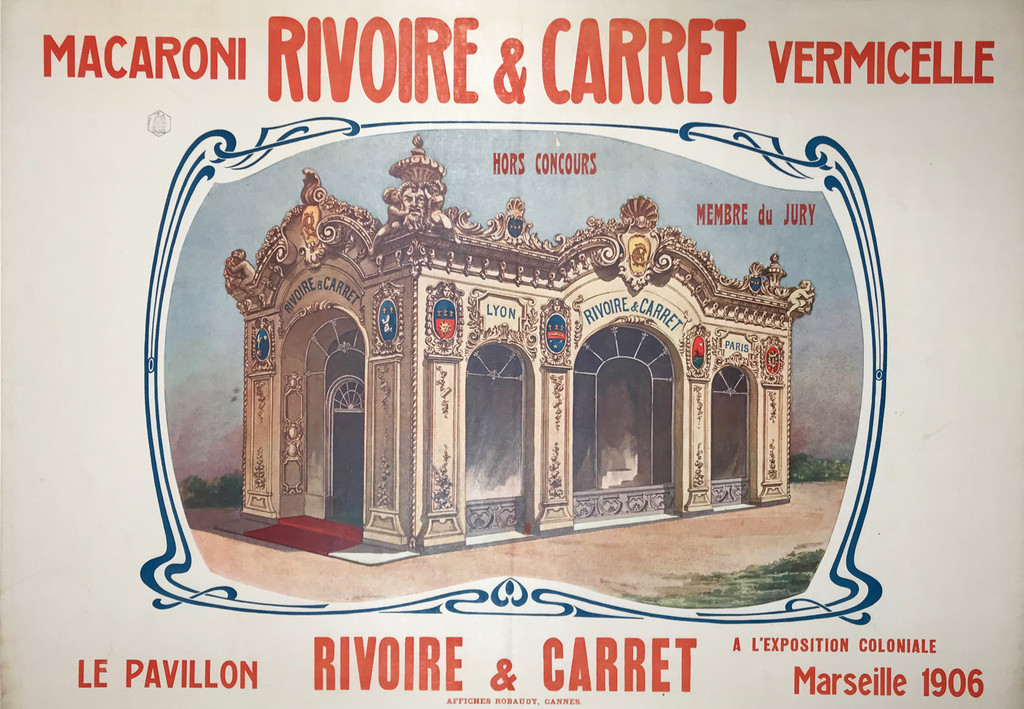 Macaroni Rivoire and Carret Vermicelle French original horizontal vintage poster from 1906.