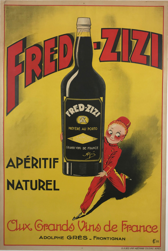 Fred Zizi Aperitif Original Vintage 1932 French Advertising Poster. Poster features a young bellhop in a red uniform and hat running with a giant bottle of liquor on a yellow background. Original Antique Vintage Posters.