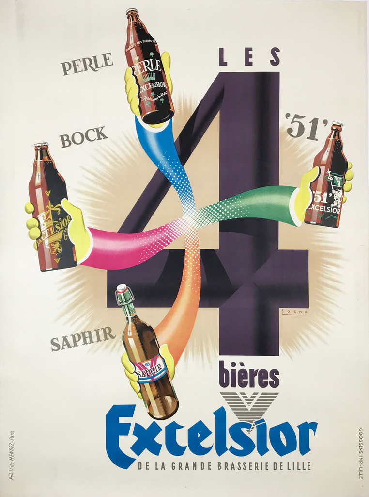 Excelsior Bieres by Sogno 1938 France - This vertical French poster features the number 4 with four arms stretched out holding bottles. Original Antique Posters.