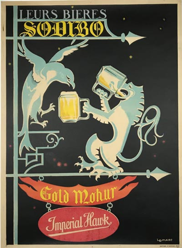 Bieres Sodibo original French beer poster from 1928 by LeMaire.