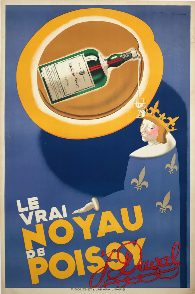 Le Vrai Noyau De Poissy Original 1934 French stone lithograph advertisement poster features a king holding up his glass to a giant bottle floating above pours his drink on a blue background.