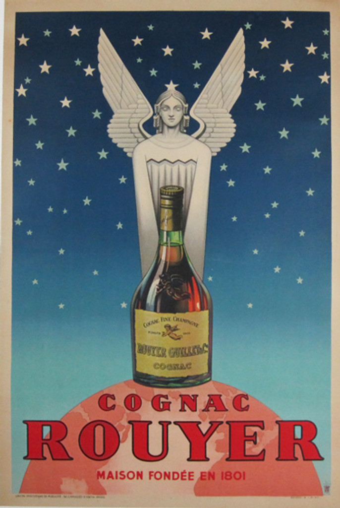 Cognac Rouyer 1945 French - French wine and spirits poster features a statue of an angel behind a liquor bottle on a pink globe against a star filled sky. Original Antique Posters.