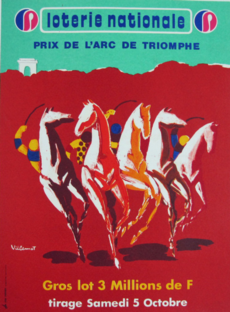 Loterie Nationale L Arc De Triomphe original vintage advertising French lithography poster by Bernard Villemot from 1974.