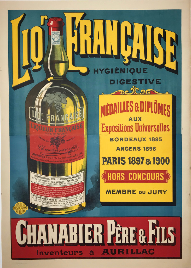 Liqueur Francaise poster from 1910 France - French wine and spirits poster features a liquor bottle with a red label on a blue background with yellow text. Original Antique Vintage Posters.