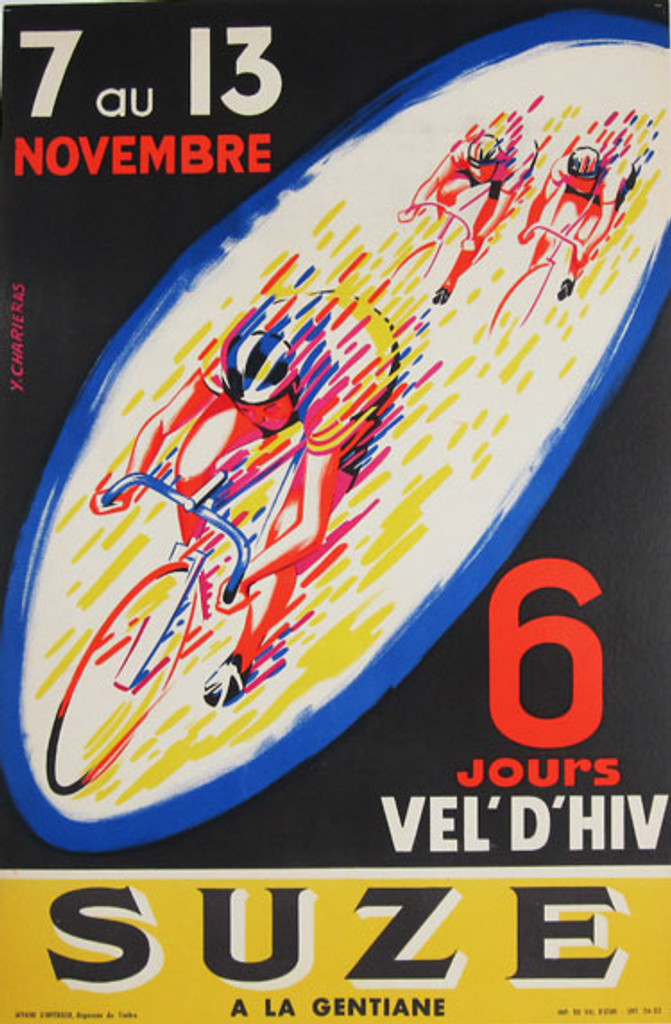 French 1957 Gentiane Suze 6 Jours Vel' D'Hiv Race Poster