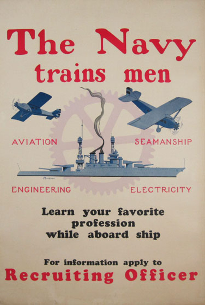 The Navy Trains Men by Burbank original vintage war poster from 1918 - American antique poster features a navy ship with two planes.