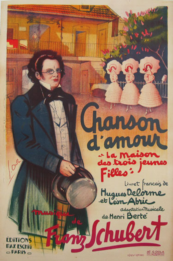 Chanson d'amour Original Vintage Poster by Dola from 1936 France