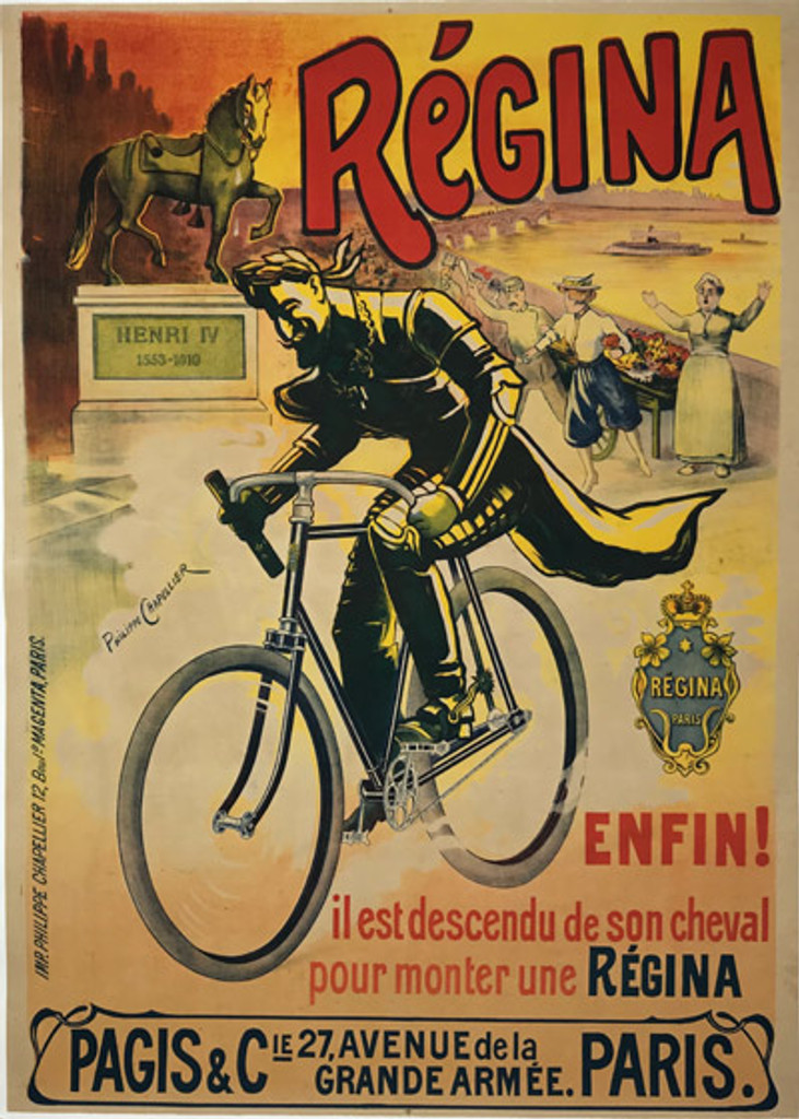 Cycles Regina Paris original vintage poster by Philippe Chapellier from 1898 France.
