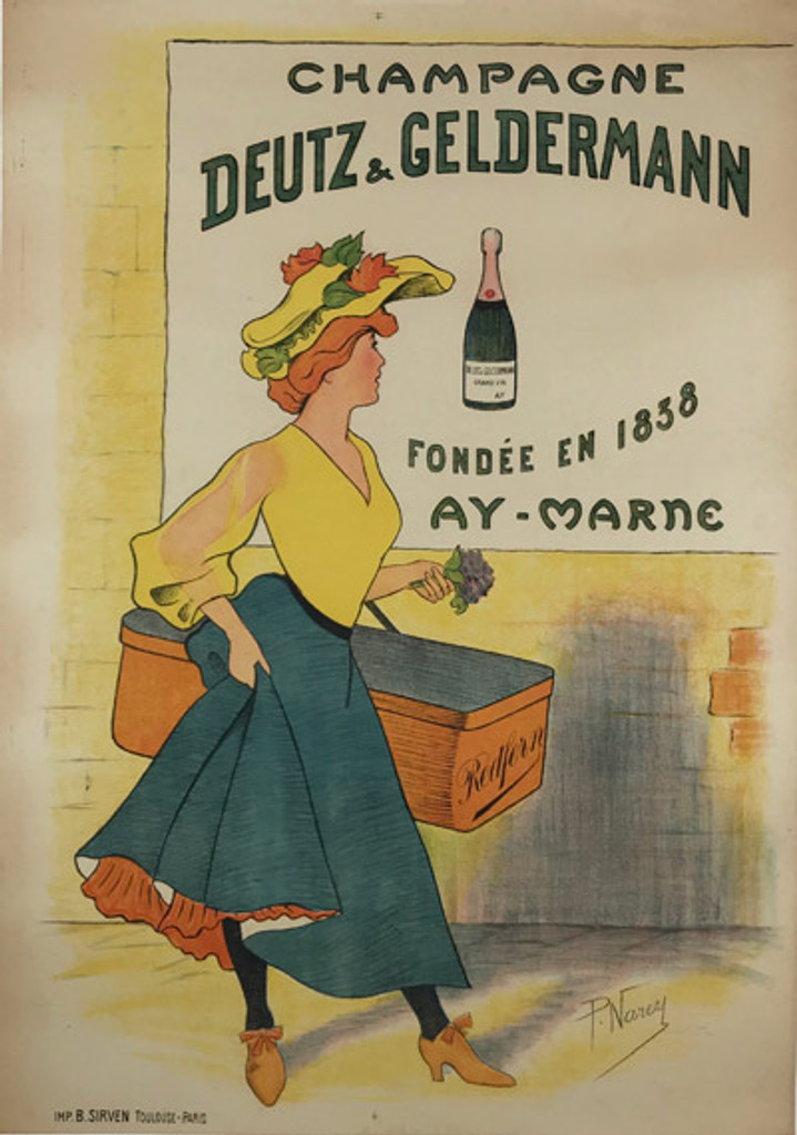 Original Antique French 1900 Champagne Deutz & Geldermann Lithograph Advertisement Poster