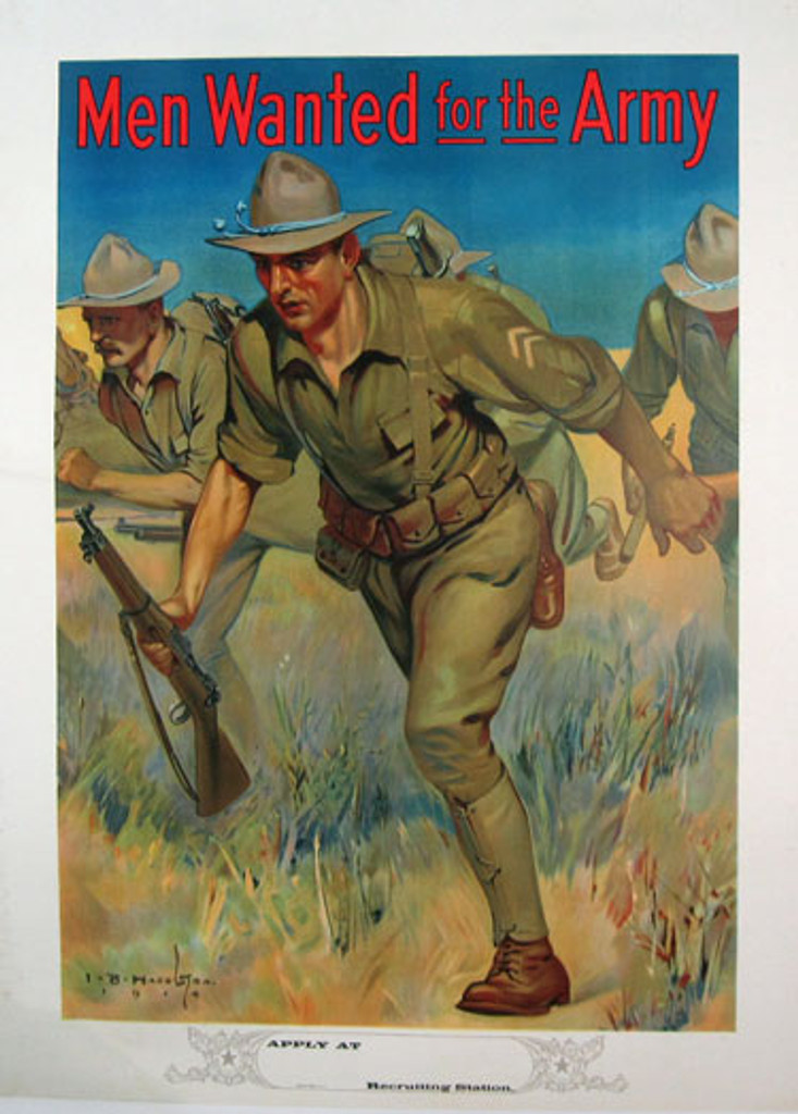 Men Wanted for the Army original vintage war poster by Hazelton from 1914 USA. Shows a soldiers running through grass holding guns, with one soldier dominating the foreground.