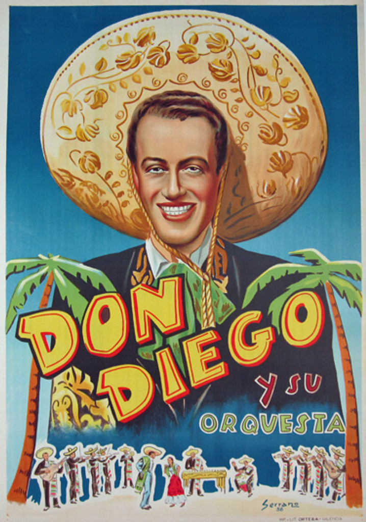 Don Diego original vintage poster by Serrano 1956 Spain