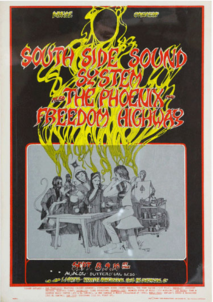 South Side Sound System also The Phoenix and Freedom Highway by Greg Irons original vintage poster from 1967 USA