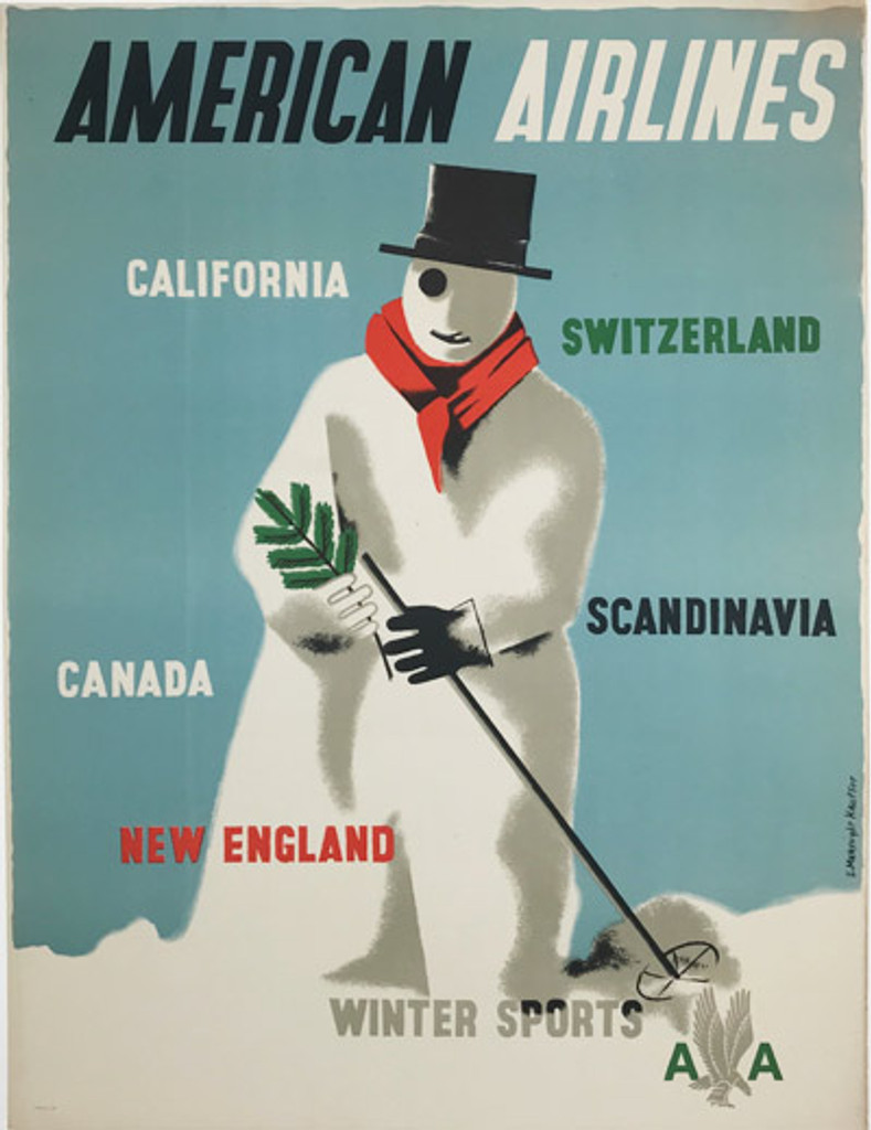 1947 American Airlines Winter Sports Poster by Kauffer