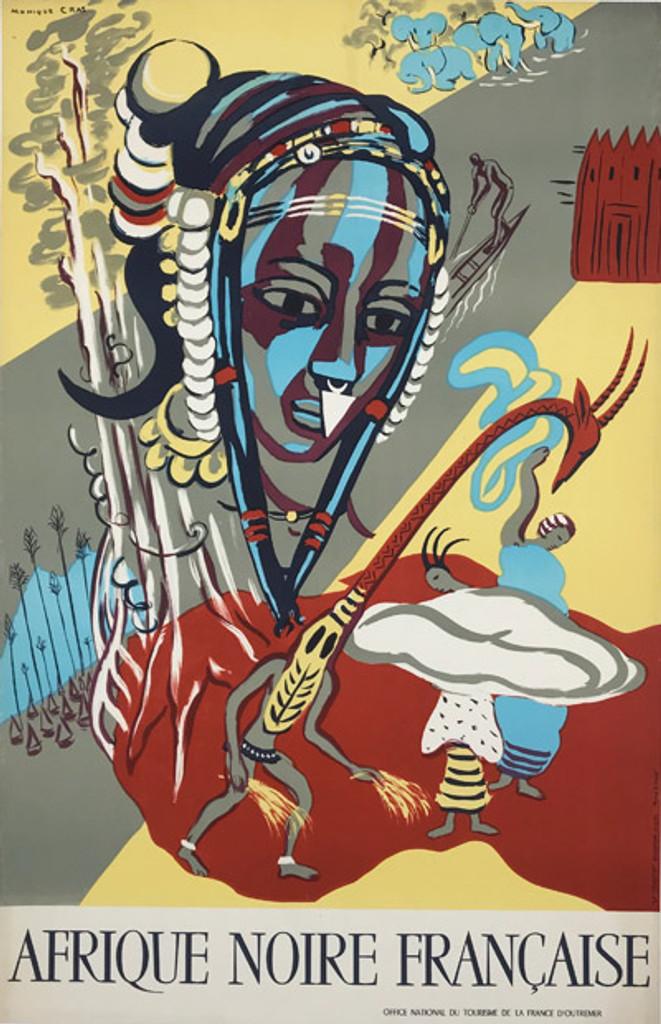 Original 1950 Afrique Noire Francaise Poster by Cras