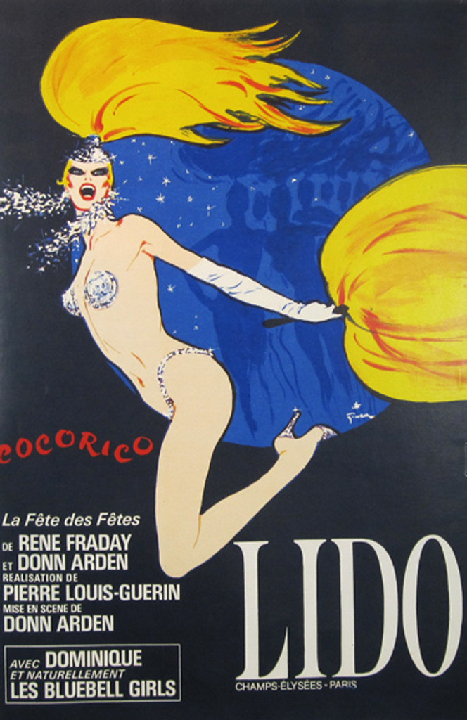 Lido Cocorico by Rene Gruau original vintage poster from 1974 France.