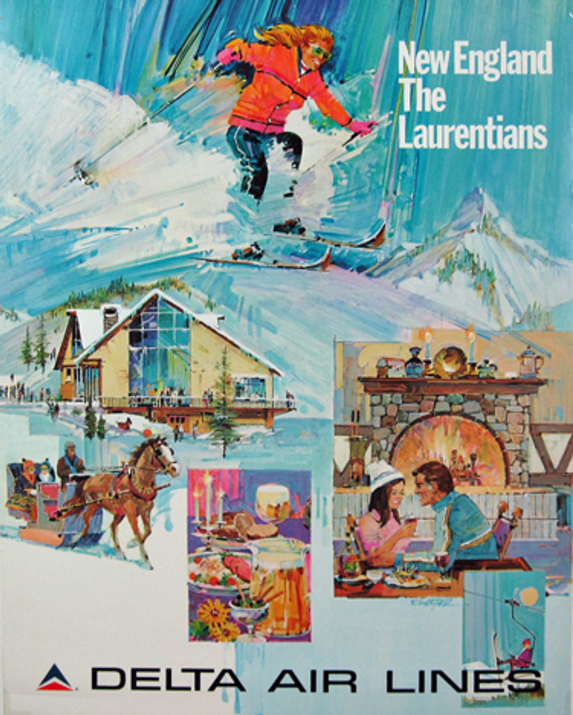 Delta Airlines New England the Laurentians original American travel poster from 1970's by Dick Pfahl. Great destination for winter sports.