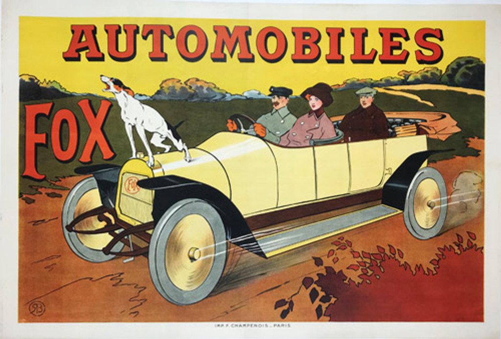 Automobiles Fox original 1909 French stone lithography vintage transportation poster by RB.