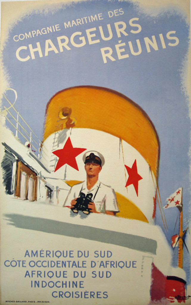 Compagne Maritime Des Chargeurs Reunis original poster by A. Brenet from 1948 France. This vertical French travel poster features captain on the ship who holding binoculars in his hands.