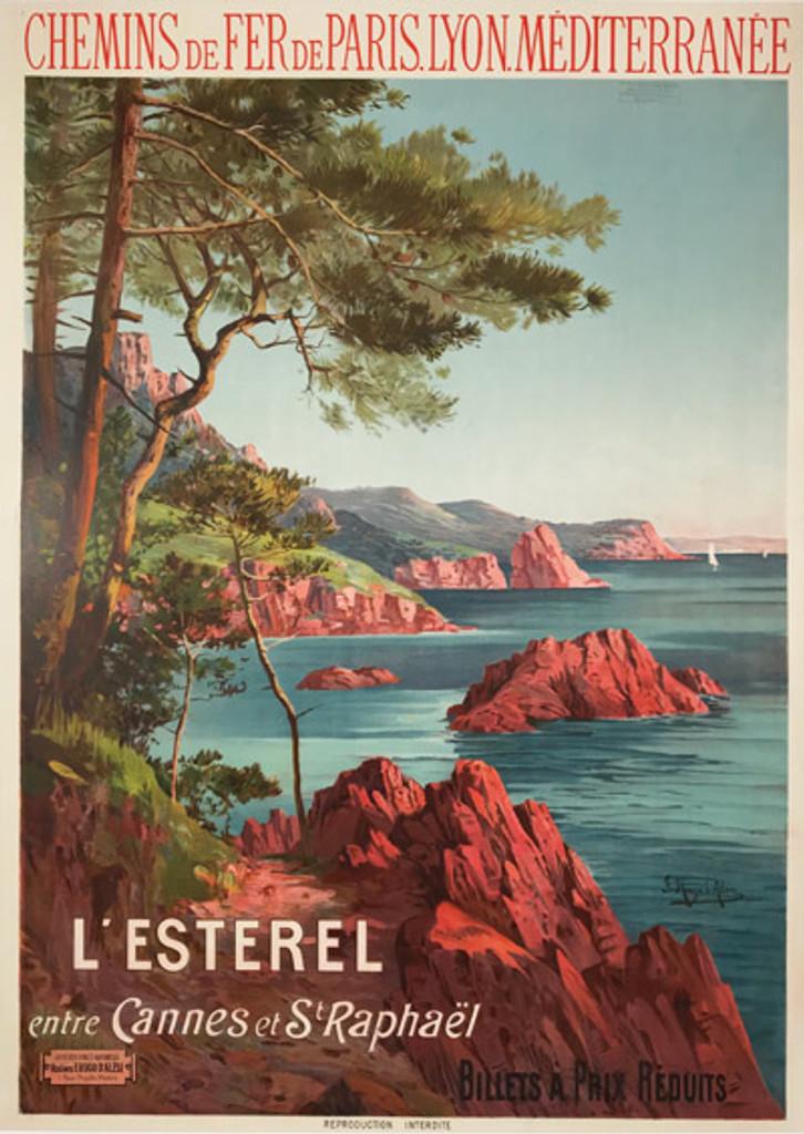 French 1902 L'Esterel Entre Cannes et St. Raphael PLM Poster