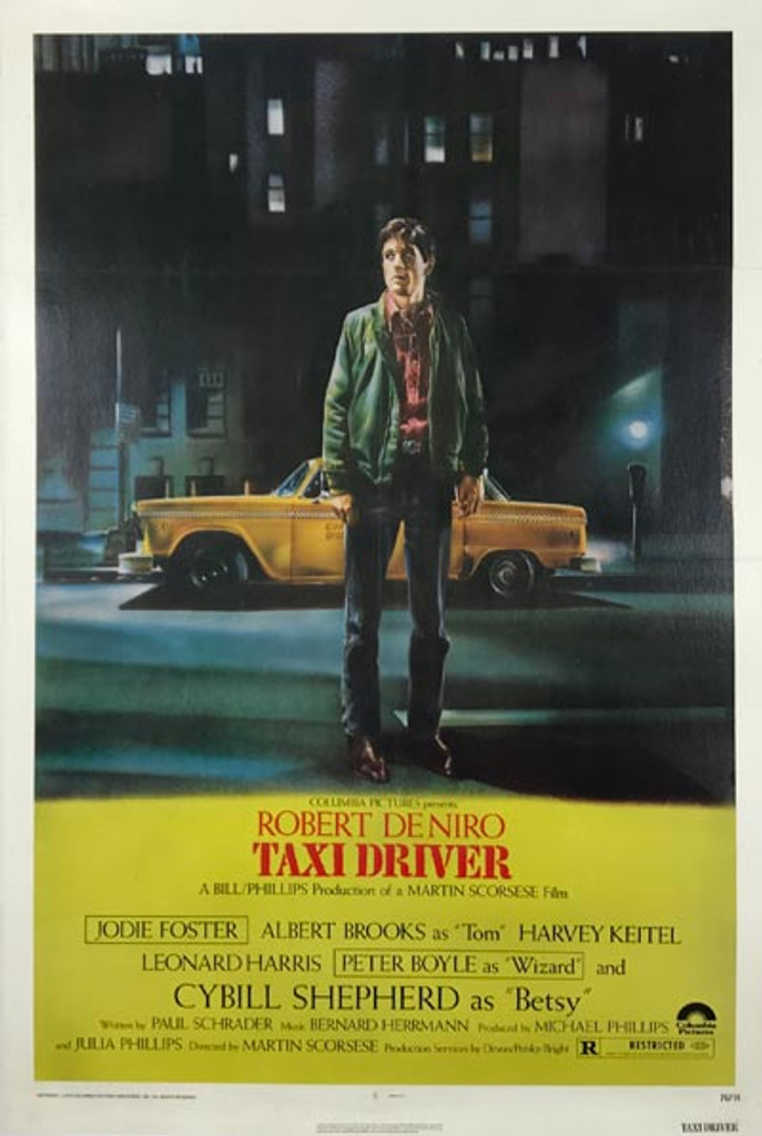 Taxi Driver original advertising lithography vintage poster from 1976 USA. Shows a standing man behind which is a yellow cab.