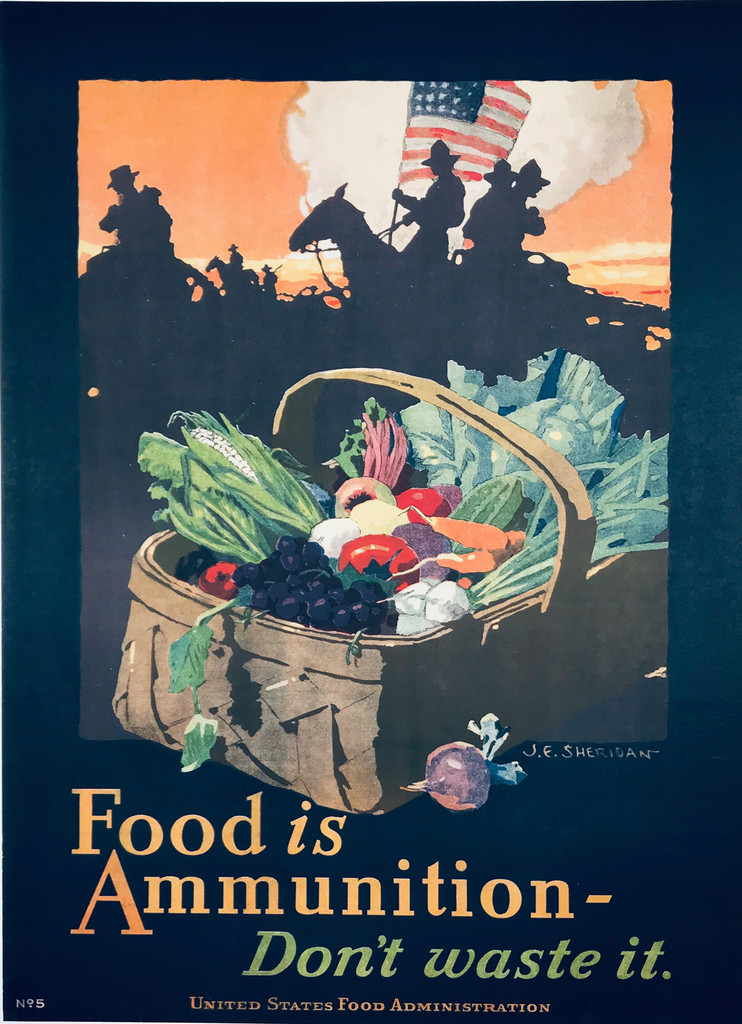 Food is Ammunition original vintage poster by Seridan from 1918 USA. Shows a produce in basket, soldiers with American flag on horseback in background.
